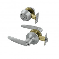 Issac Entrance & Deadbolt Combo Set Lever KD Brushed Nickel